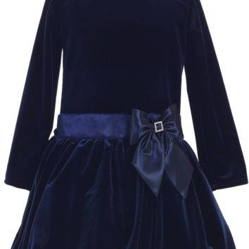 Navy Blue Velvet Drop Waist Girls Holiday Dress w Bubble Tucked Hem 2T-10