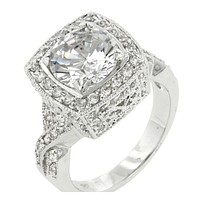 Giovanna Vintage Filigree Engagement Cocktail Ring   11ct   Cubic Zirconia