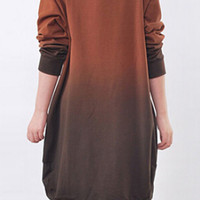 Orange and Black Gradient Long Sleeve Dress
