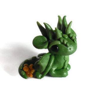 Sale! Shimmer the gold collector dragon figurine, miniature , polymer clay sculpture