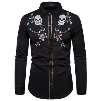 Mens Western Cowboy Skull and Flower Embroidery Shirt Slim Fit Casual