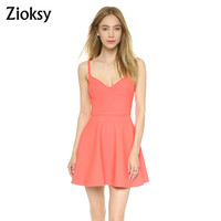 New Arrival Women Summer Cute Spaghetti Strap Bodycon Slim Dress Causal Mini Dress