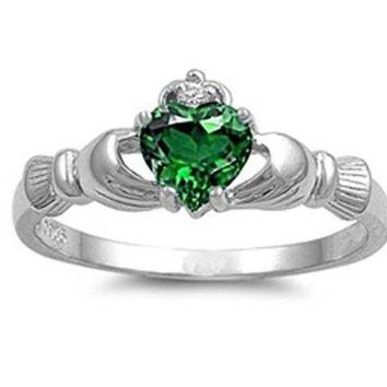 ONETOW Hot! Irish Heart Shaped Emerald CZ Claddagh 925 Sterling Silver Ring Sizes 6 7 8 9 10 = 1945782980