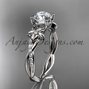 "platinum flower diamond wedding ring, engagement ring with a ""Forever One"" Moissanite center stone ADLR388"