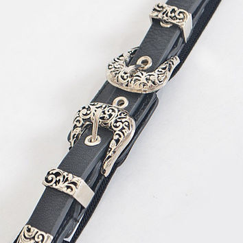 Thin Double Buckle Black and Antique Gold Western Style Belt