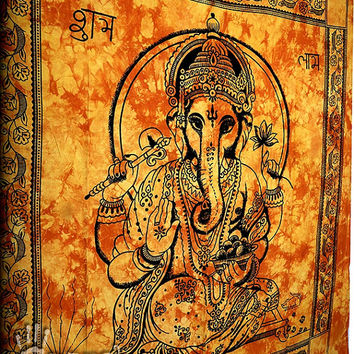Ganesha Hippie Tapestry, Hippie Wall Hanging, Indian Wall Hanging Throw Bedspread Bed Cover, Bohemian Tapestry, Ethnic Home Decor Tapestry
