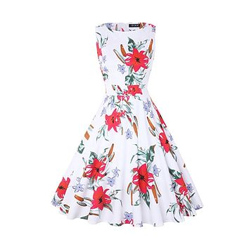 Vintage Inspired Cocktail Dress - White Red Lily, Sizes Small - 2XLarge