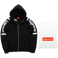 Supreme tide brand autumn and winter men and women couple new combed color sweater coat loose head plus velvet Black