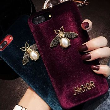 Dior Pearl Bee Individual Bee Iphone7plus Mobile Phone Shell European And American Iphone6s Popular Logo Atmosphere X Luxury Red Plush Cover