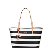 hawthorne lane ryan striped tote bag, black/cream - kate spade new york