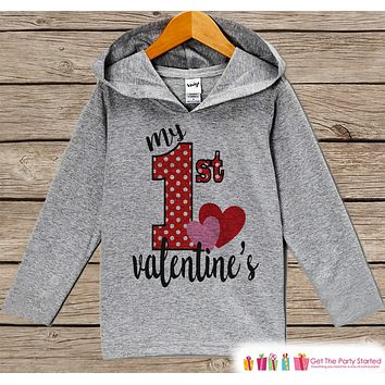 Kids Valentines Day Outfit - Girls Hoodie - My First Valentine Pullover - Baby Girls 1st Valentine's Day Outfit - Newborn, Infant Hoodie