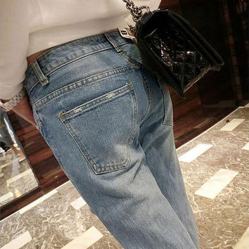 JEANS Destroyed Ripped  Trendy Beauty Womens Skinny Boyfriend Acid Washed Cropped Hole Fashion Low-rise Pencil Jeans 5092