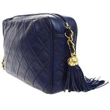 Authentic CHANEL CC Fringe Quilted Chain Shoulder Bag Leather Navy Blue 48L244
