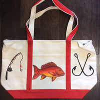 Beach Tote Bag Hand Painted with Red Snapper Fish, Hooks and Fishing Pole