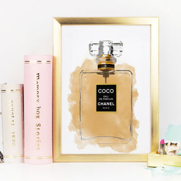 COCO CHANEL PERFUME Bottle,Makeup Bathroom Art,Girlfriend Gift,Teen Girls Room Art,Fashion Art,Gift For Wife,Giclee Print,Scandinavian Art