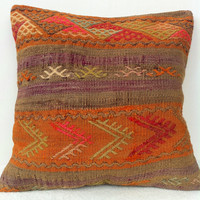 Organic Dyed Handwoven  Soft and Thin Soft Orange CICIM Turkish Kilim Pillow Cover, Decorative Kilim Pillow, Vintage Pillow Throw 16 x 16