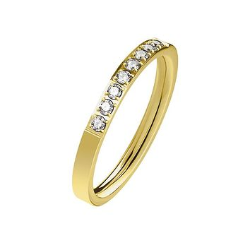 Everlasting Gold - Women's Stainless Steel Gold Ion Plated Ring With Clear CZ Stones