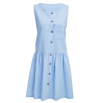 Preppy Style Round Collar Front Single-breasted Pocket A-line Dress for Women