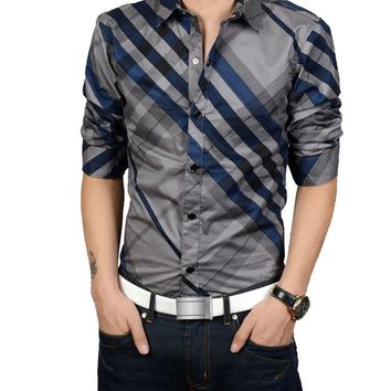 New 2017 shirts men business&casual striped long sleeve cotton Slim fit mens Dress brand Shirts chemise homme plus size M-4XL