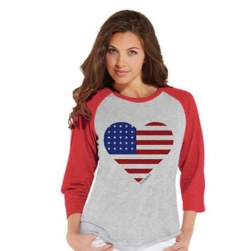Women's 4th of July Shirt - 'Merica Heart Shirt - Red Raglan Shirt - Women's Baseball Tee - Fourth of July Shirt - American Pride Outift