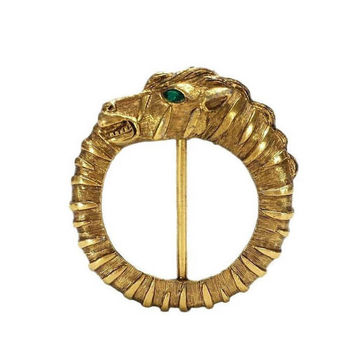 Ouroboros Pin Vintage Gold Tone Brooch Scarf Green Rhinestone Eye Serpent Dragon Eating Tail Jewelry Infinity Recreation Life Cycle Alchemy