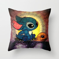 Keep Swimming Stitch Throw Pillow by Alohalani