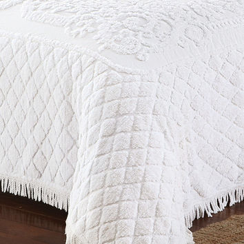 Queen Chenille Cotton Bedspread in White with Vintage Style Fringed Edges