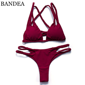 BANDEA bikini 2017 Women Swimwear Brazilian Bikini halter Swimsuit Push Up Swimwear Bikini cut out bottom Maillot De Bain Bikini