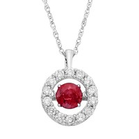 Dancing Love Ruby & 1/2 Carat T.W. Diamond 14k White Gold Halo Pendant Necklace (Red)