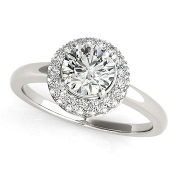 Round Cut Diamond Engagement Ring with Pave Halo Stones in 14K White Gold (1 3/8 ct. tw.)