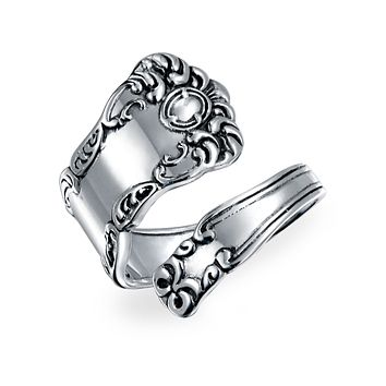 Boho Bypass Spoon Band Ring Oxidized 925 Sterling Silver Adjustable
