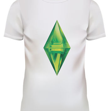 Unisex The Sims Plumbob Icon Graphic White T Shirt Size S M L XL