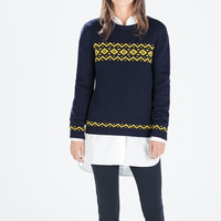 Knitted Wave Print Jacquard Pullover Sweatshirt