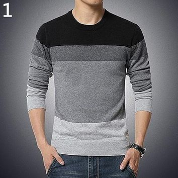 Men Fashion Autumn Casual O-Neck Striped Slim Fit Knitting Sweater Pullover
