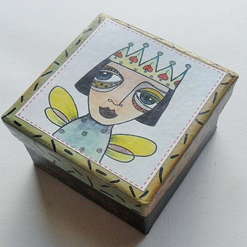 Angel Trinket Box - Folk Art Angel - Unique Trinket Box - Folk Art Queen - Angel Jewelry Box - Hand Painted Jewelry Box - Unique Gift