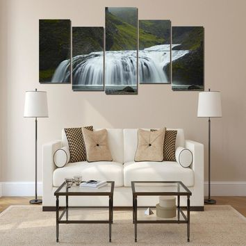 Iceland waterfall green 5 piece wall art on canvas panel art Framed UNframed