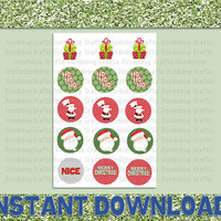 """Merry Christmas Holiday - Printable Bottlecap Images - Instant Download 1"""" circles - 15 images - Santa Claus, Tree"""