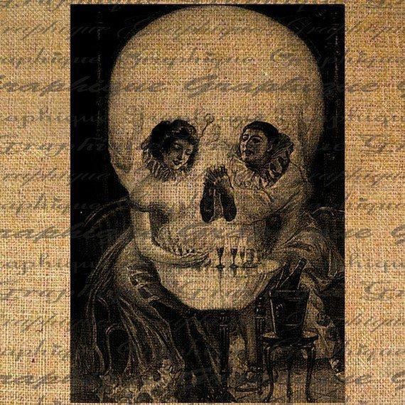 Optical Illusion Skull or French Clown Lovers Digital by Graphique