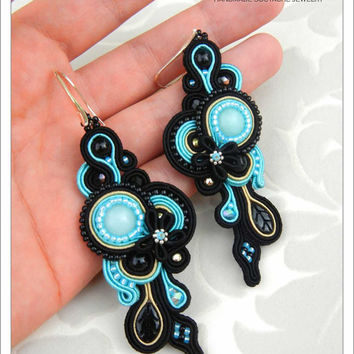 CHRISTMAS SALE 50%, Soutache Earrings, Black Blue, Handmade Jewelry, Black Earrings, Statement Jewelry, Dangling Earrings, Blue Earrings