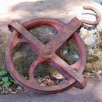 Cast Iron Pulley, Durbin Durco St. Louis MO USA Barn Hay Well Pulley, Old Rusty Red Pulley, Industrial Iron, Rustic Farmhouse Decor