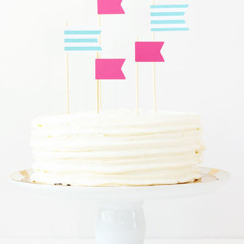 Cake Toppers Girls Birthday Party Pink Teal Flag Toppers Stripe Pennants Pink Party Supplies Cake Decorations Girl Baby Shower / Set of 5