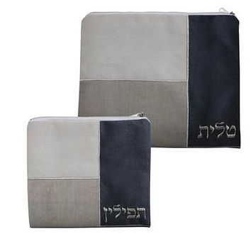 Linen Talit - Tefilin Set 35x30 Cm With Embroidery