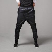 Mens Dry Black Coated Drop Crotch Jogger Jeans Waist Band at Fabrixquare