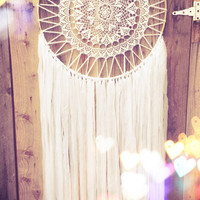 White & Gold Doily Dream Catcher
