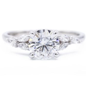 *7mm Round Moissanite 14K White Gold Marquise Diamond Side Ring