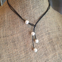 Black Leather and  Freshwater Pearl Triple Drop Lariat Necklace