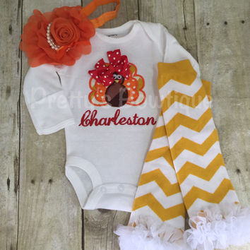 Thanksgiving Outfit Baby Girl – Turkey Embroidered Bodysuit, Headband & Legwarmers Set Personalized with Name