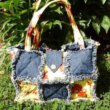 rag purse, denim purse,handmade purse, quilted purse, patchwork purse, summer purse, quilted tote, handmade tote bag