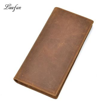 Men's crazy horse leather bifold wallet Full made of cow leather purse  with long zipper coin pocket card holder clutch