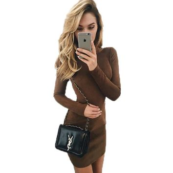Long Sleeve High Waist Round-neck Dress One Piece Dress [10946801671]